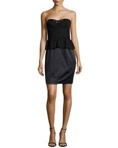 T8STK Aidan Mattox Strapless Bead-Embellished Peplum Dress, Black