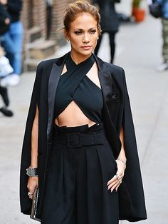 Jennifer Lopez shows off her sassy side while posing outside the Late Show with David Letterman in N.Y.C. on Wednesday.