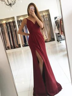 Burgundy Chiffon Mermaid Evening Dress Simple Pleats Side Slit V Neck Sexy Long Prom Dresses ,Party Gowns Evening Wear Vestidos,burgundy Prom Dress,sexy Slit Prom Dress Split Prom Dresses, V Neck Prom Dresses, Prom Dresses 2018, Mermaid Evening Dresses, Cheap Prom Dresses, Prom Party Dresses, Party Gowns, Dresses For Teens, Formal Dresses