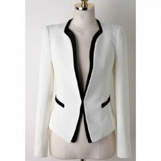 Casual Style Contrast Color Splicing Long Sleeve Blazer For Women