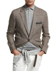M1X42 Brunello Cucinelli Deconstructed Prince of Wales Sport Jacket, Brown