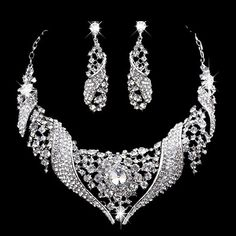 $19.03 Pair of Graceful Rhinestone Embellished Solid Color Necklace And Earrings For Bride