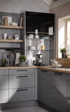 High Gloss Kitchen Doors, Grey Gloss Kitchen, Gloss Kitchen Cabinets, Kitchen Units, Simple Kitchen Design, Kitchen Room Design, Kitchen Interior, Grey Ikea Kitchen, Kitchen Size