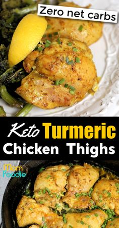 This Keto Chicken Thighs cast iron skillet recipe is seasoned with turmeric. The easy low carb chicken thigh recipe is actually zero net carbs per serving! Low Carb Chicken Thigh Recipe, Paleo Chicken Recipes, Healthy Pasta Recipes, Healthy Pastas, Lunch Recipes, Keto Recipes, Pizza Recipes, Healthy Food, Dinner Recipes