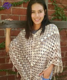 Free #crochet pattern: Timeless Boho Poncho by The Purple Poncho.