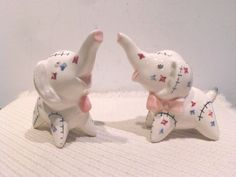 Vintage Elephant Salt and Pepper Shakers(trunks turned up mean good luck)
