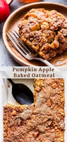 Pumpkin Apple Baked Oatmeal combines two of fall's best flavors! Topped with a sweet cinnamon sugar topping that gets crisp as it bakes, it's perfect for a weekend fall breakfast or brunch. #bakedoatmeal #oatmeal #pumpkin #apple #glutenfree #vegetarian #breakfast #brunch #fallrecipes #healthybreakfast Baked Pumpkin Oatmeal, Oatmeal Bread, Baked Oatmeal Recipes, Apple Oatmeal, Healthy Baked Oatmeal, Oatmeal Cups, Baked Oats, Pumpkin Recipes, Fall Recipes