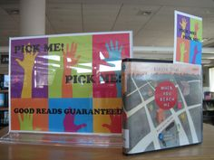 "We recently put up a book display that has books flying off of the shelves! Flying, I tell you! It seems that as soon as we fill it up, it is empty again. Our ""Pick Me! Pick Me!"" display features colorful bookmarks with a handwritten message about each title. Sure, it is staff intensive to get those bookmarks finished, but it works.                                                           On the back of each bookmark it says ""What do you think?"" so kids can add their own comments before…"