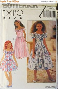 40% OFF SALE 1990s Childrens Sewing Pattern Butterick 6015 Girls Dress Pattern Size 7, 8, 10 Uncut by SewYesterdayPatterns on Etsy
