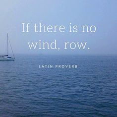 If there is no wind, row. Latin proverb