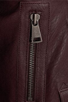 Victoria, Victoria Beckham - Cropped Leather Biker Jacket - Burgundy - UK14
