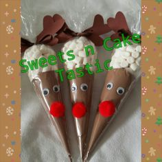 Hot chocolate reindeer cones. Love making these. Kids love them