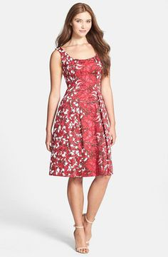 Maggy London Floral Print Cotton Sateen Fit & Flare Dress | Nordstrom