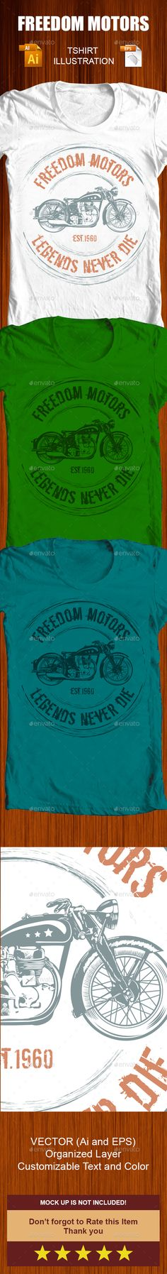Freedom Motors Tshirt Illustration Template Vector EPS, AI. Download here: http://graphicriver.net/item/freedom-motors-tshirt-illustration-/14118319?ref=ksioks