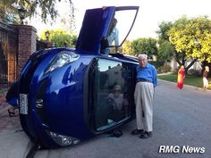 Elderly couple posing for photo after their car flipped (wife still trapped inside) - Imgur