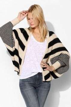 ++ Sparkle & Fade Mixed Stripe Open-Front Cardigan