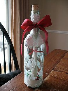 Message in a Bottle Craft. Teen Girl Birthday – White and colored sugar; white paper – tape money or gift check to paper; purple yarn or ribbon to tie paper; purple and yellow confetti or buttons in sugar; yellow bow for outside; Lots more ideas here