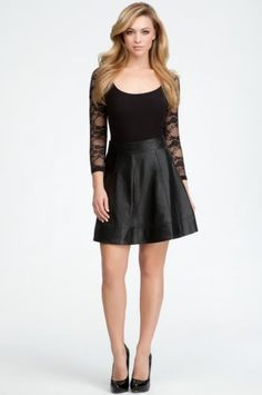 bebe Leather Circle Skirt Weekend Sportswear Blk-2 coupon| gamesinfomation.com I want this outfit!!!!! jlj