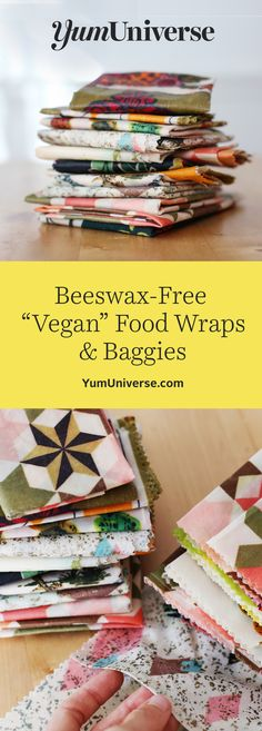 "Skip the plastic and make your own beeswax-free food wraps with a special vegan alternative to beeswax. These wraps preserve foods for weeks and are reusable for months! Easy, free food wrap ""baggie"" pattern download for half-eaten avocados, sandwiches and more. #beeswaxfoodwrap #beeswaxwraps #veganfoodwraps"