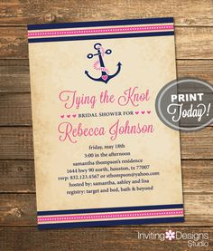 Nautical Bridal Shower Invitation, Tying the Knot, Anchor, Navy Blue, Pink, Destination, Beach, Printable File (Custom, INSTANT DOWNLOAD) by InvitingDesignStudio on Etsy