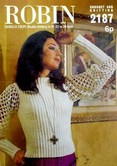 PDF Vintage Boho 1970s Robin 2187 Ladies Elegant Lacy Blouse Irish Crochet, Knit Crochet, Retro Outfits, Vintage Outfits, Knitting Patterns, Crochet Patterns, Pretty Summer Dresses, Hippie Chick, Retro Clothing