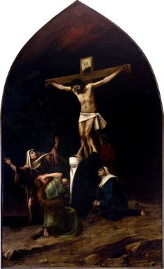 Christ on the Cross - Mihály Munkácsy - The Athenaeum Sign Of The Cross, The Cross Of Christ, Holy Week, Sacred Art, New Testament, Christian Art, Roman Catholic, Beautiful Images, Art History