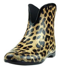 Ace Womens Girls Leopard Waterproof Pullon Work Fashion Rain Boot 7 gold *** To view further for this item, visit the image link.