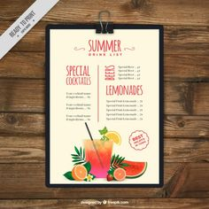 Summer drink list clipboard Free Vector