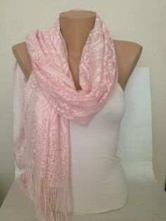 8a1dd81539a10 Blush Pink Wedding Shawl - Pink Bridesmaid Gift - Pink Wedding Scarf - Lace  Shawl - Fringed Long Infinity Scarf - Pink Bridal Accessories