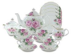 Rose Bouquet Bone China Tea Set With 4 Dessert Plates * See this great product. Tea Cup Saucer, Tea Cups, English Tea Store, Rose Decor, China Tea Sets, Tea Pot Set, Tea Service, How To Make Tea, China Patterns