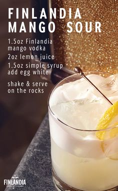 Put a unique spin on a traditional vodka sour by making a Finlandia Mango Sour. This is the perfect cocktail to make when catching up with coworkers at happy hour after a long day at work. Click here to learn how to make more tasty recipes.