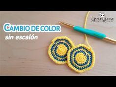 Cómo cambiar de color sin escalón en tejido circular a ganchillo - YouTube