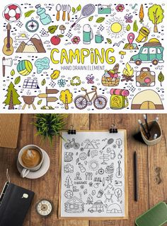 Camping hand drawn element. Travel Icons. $8.00