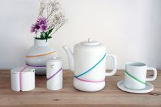 Love this tea set with the bands of color