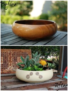 Wooden Salad Bowl Makeover: Transform a common garage sale find into a unique display piece. Steps on making this succulent garden are on the blog! www.huntandhost.com