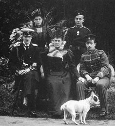 The Grand Duchess Maria Pavlovna Romanova of Russia (the Elder) with her four surviving children, Kiril,Elena,Andrei and Boris.