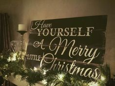 Pallet Sign, Christmas Sign, Painted Wood Sign, Have Yourself A Merry Little…