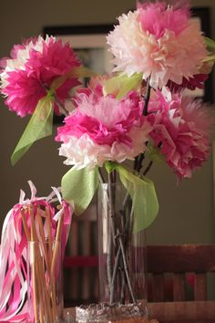 Tissue Paper Flowers with Tulle Centers
