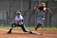 Sooo close at first base - girls' softball