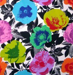 Icelandic Poppy - funky retro Pop Art big flowers pink green blue cotton fabric