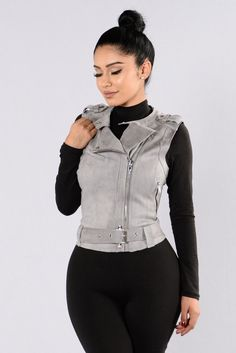 - Available in Camel and Grey - Suede Mold Vest - Sleeveless - Zipper Front - Zipper Sides - Buckle Bottom - 92% Polyester 8% Spandex