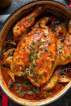 Easy chicken cacciatore - An easy, nourishing and delicious recipe with fantasti. Easy chicken cacciatore - An easy, nourishing and delicious recipe with Dutch Oven Recipes, Italian Recipes, Cooking Recipes, Healthy Recipes, Cooking Kale, Cooking Ribs, Dutch Oven Cooking, Cooking Pasta, Cooking Steak