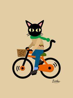 Whim's cycling Art Print by BATKEI