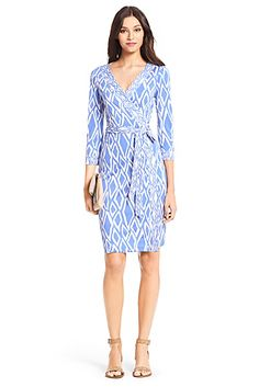 Banded Julian Silk Jersey Wrap Dress In Ikat Stamp Cornflower $438 (not eligible for sale)