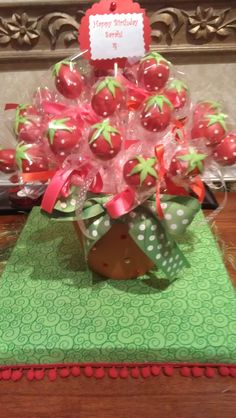 Strawberry Shortcake Cake Pops!  My little girl loves Strawberry Shortcake and these were a perfect pick for her party! :)