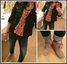 ruffle shirt, black jacket, MUST HAVE jeans, and TOMS booties