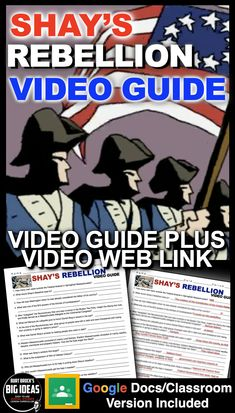 Shay's Rebellion Video and Video Guide (American Revolution) + Distance Learning Government Lessons, Teaching Government, Levels Of Government, History Lesson Plans, World History Lessons, Teaching American History, Teaching History, Absent Students, Substitute Teacher