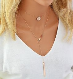 Chain Choker Necklace, Personalized Disc, Lariat Y Necklace, Monogram Disc, Y Necklace Bar, Layered Necklace Gold, Silver, Rose Gold
