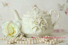 Beautiful cream color teapot