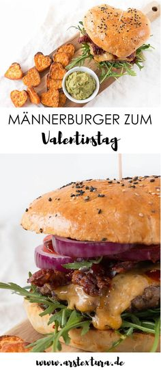 Homemade burgers for Valentine's Day ars textura - DIY-B .- Burger recipe for men: With self-righteous buns and DIY barbecue sauce – the absolute highlight for Valentine's Day are the delicious heart fries Gourmet Sandwiches, Healthy Sandwiches, Diy Barbecue, Barbecue Sauce Recipes, Barbeque Sauce, Best Homemade Burgers, Homemade Buns, Salsa Barbacoa Casera, Healthy Burger Recipes